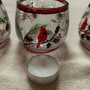 Yankee Candle Crackle glass candle holders